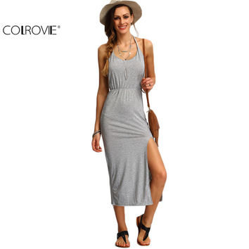 COLROVIE Halter Sleeveless Backless Side Split Sheath Long Beach Ladies Cotton Dresses  Summer Dress