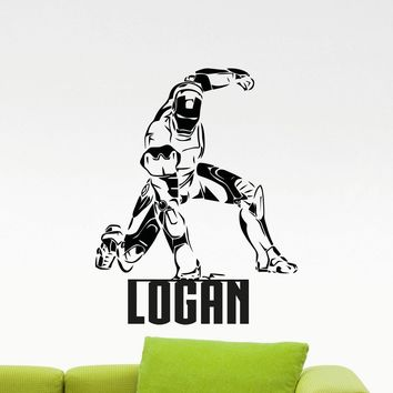Personalized Iron Man Wall Vinyl Decal Avengers Boy Custom Name Superhero Sticker Comic Book Poster Home Kids Nursery Mural Art Deco Made in US