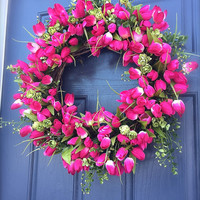 Spring Tulip Wreath, Pink Tulips, Pink Wreaths, Spring Door Wreaths, Tulip Door Wreaths, Easter Wreath, Pink and Green Wreath