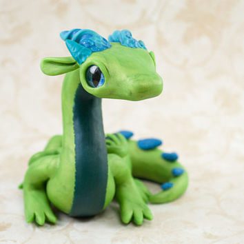 Green Dragon Fingurine, Polymer Clay Dragon, Dragon Sculpture, Dragon Figure, Green Dragon Figure, Green Dragon, Cute Dragon