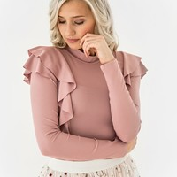 Pink Shoulder Ruffle Top - JessaKae