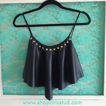 Studded Crop Top Handkerchief Tank - Black Faux Leather - Silver, Black, or Gold Studs