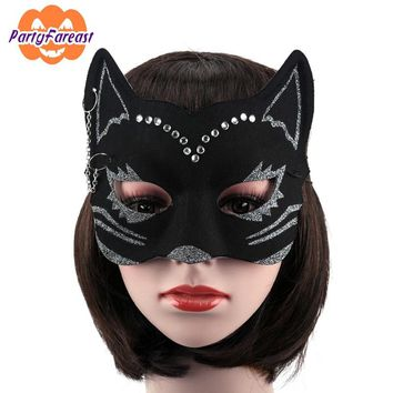 PF Sexy Cat Masks Halloween Party Mask for Women Girls EVA Black Crystal Masquerade Masks for Nightclub Party Ornaments M037