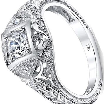0.55 Carats Carved Sterling Silver Vintage Cubic Zirconia CZ Bridal & Engagement Ring