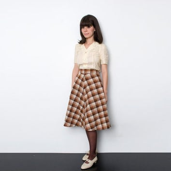 NOS Vintage brown beige flared plaid Skirt size XS