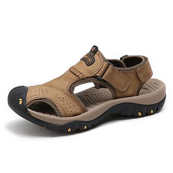 Thick Sole Genuine Leather Sandals Men Shoes Water Outdoor Beach Casual Slippers Strap Men Closed Toe