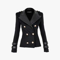 Balmain - Wool and cashmere blend double-breasted jacket - Women's blazers