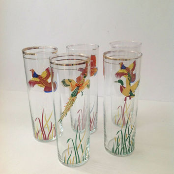 Vintage Set of 5 Highball Bird Beverage Glasses by Libbey. Ducks Pheasants Quail Grouse