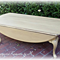 shabby chic coffee table! Queen anne coffee table, distressed coffee table, yellow coffee table, shabby chic table, rustic coffee table