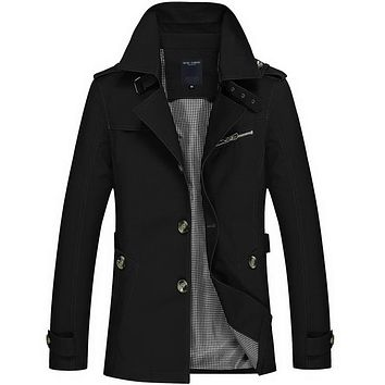 Spring Windbreaker Long Trench Coat Men 95% Cotton 5 COLORS brand clothing