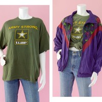 80s Army Strong Green Graphic T-shirt, Men's XL