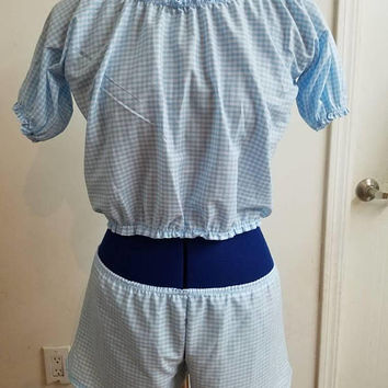 gift - for - her - pinup - rockabilly - gingham  - retro -  pajama - set -  lingerie - top - and - boxer - boy - short  - set