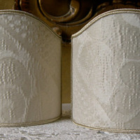 Pair of Clip-On Shield Shades Sir Francis Rubelli Ivory Crinkled Damask Mini Lampshade - Handmade in Italy