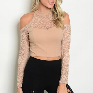 Women's Taupe Lace Mock Neck Off Shoulder Top Blouse Cropped Bodycon Casual Cute