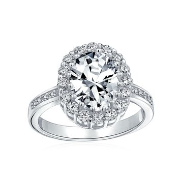4 CT Oval Pave Halo CZ Promise Engagement Rings 925 Sterling Silver