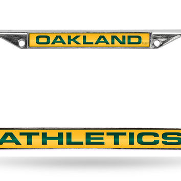 MLB Oakland Athletics Yellow Laser Cut Chrome License Plate Frame