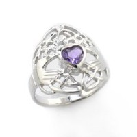 Celtic Knot and Genuine Amethyst Irish Claddagh Sterling Silver Ring(Sizes 4,5,6,7,8,9,10,11,12,13,14,15)