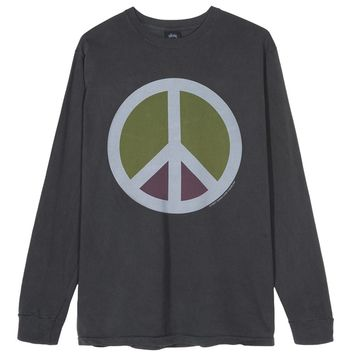 Stussy Peace Pigment Dyed LS Tee Black