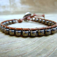 Mens Unisex Beaded Leather Single Wrap Bracelet with Hematite Metal Beads on Genuine Brown Leather Stackable Bracelet