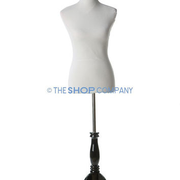 New White Female Dress Form Mannequin Size 2-4 on Black Wooden Tripod Stand