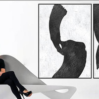 LArge Abstract art Original Acrylic Painting 2 pieces black and white wall art acrylic painting, Modern art, large room wall art canvas