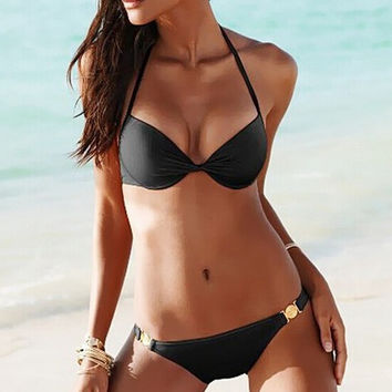 Simple Bikini Set Beach Swimsuit Summer Gift 195