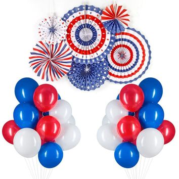 Red White Blue Balloons 66 Pcs Latex Balloons & Paper Fans Birthday Balloons Decoration for Happy Birthday Boy Superman Theme Party Memorial Day Celebration Party - Red & White & Royal Blue