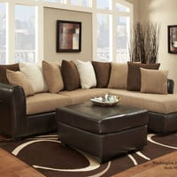 Taupe & Brown 2pc Sectional w/ Ottoman