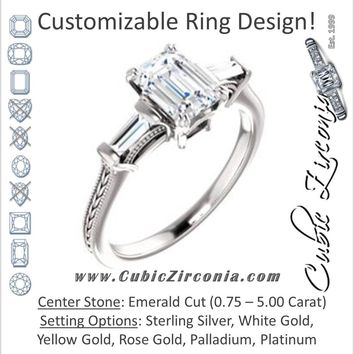 Cubic Zirconia Engagement Ring- The Kimiko (Customizable 3-stone Emerald Cut Design with Baguette Accents and Thin Wheat-Filigree Band)