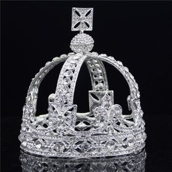 Cool Baroque Royal Queen Tiara Crown Rhinestone Vintage King Diadem Bridal Wedding Tiaras and Crowns for Male Headdress Hair jewelryAT_93_12