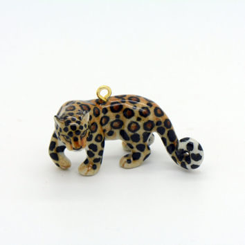1 - Porcelain Leopard Pendant Animal Hand Painted Glaze Ceramic Animal Ceramic Jaguar Jewelry Supplies Little Critterz (CA051)