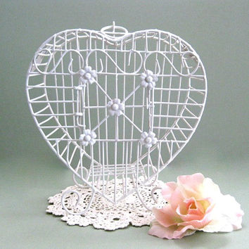 White Birdcage Decor White Bird Cage Decor Metal Bird Cage Decoration Shabby Chic Birdcage Decorative Birdcage Wire Birdcage Heart Hanging
