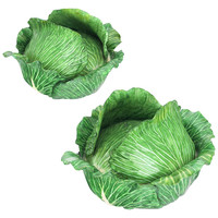 Cabbage Head Pair of Trompe L'Oeil Faïence Terrines