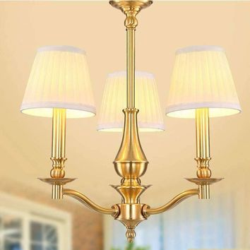 3 Arms copper KUNG brand LED chandelier light ceiling mounted copper America 3PCS warm white E14 lamp AC85V-240V free shipping