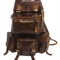 UNISEX Superior Genuine Cow Leather Backpack in Oil Dark Brown