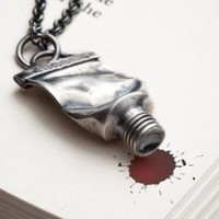 Silver paint tube necklace  Famous  RedSofa jewelry by redsofa