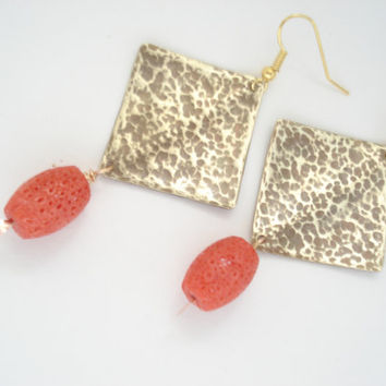 Unique Handmade Earrings-Hand Hammered Metalwork Earrings-Contemporary Earrings-Gold Bronze Earrings-Red Sponge Coral Beads-Antiqued Faced