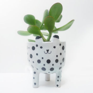 Spotty White Cat Planter - Tripod Plant Pot - White and Black Leopard Succulent or Cacti Pot
