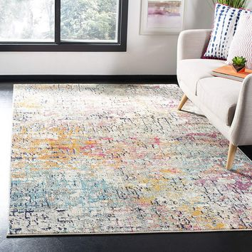 0110 Gray Pink Distressed Abstract Contemporary Area Rugs