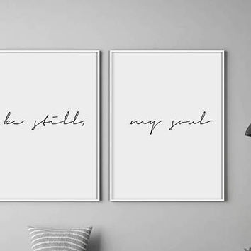 Be Still My Soul Poster, Be Still My Soul Print, Bedroom Prints, Minimal Print, Couple Print