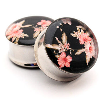 Vintage Floral Picture Plugs Style 5 gauges - 1 1/8, 1 1/4, 1 3/8, 1 1/2 inch