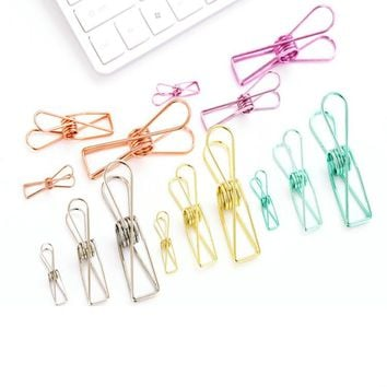 [XIROHO] rose gold silver green color Hollow Out Metal Binder Retro Fish spring Clips Notes Letter Paper holder 32mm 54mm 74mm