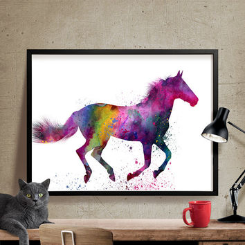 Horse Art Watercolor Painting, Horse painting, Watercolor Painting, Watercolor Horse Print, Wall decor, Wall Art, Fine Art Print, horse (42)