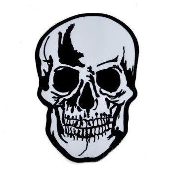 "Large 8"" Biker Skull Iron On Patch Goth Deathrock Applique"