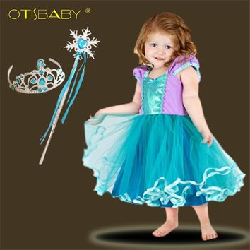 Summer Baby Girl Clothing Infant 1 2 Year Birthday Party Cute Infants Voile Tutu Beach Little Mermaid Dress Toddler Ball Gowns
