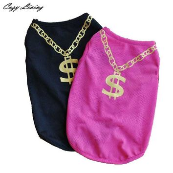 Gold Chain Dollar Sign T-Shirt Pink/Black Size XS-L