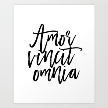 """Love Quote """"Amor Vincit Omnia"""" Valentines Day One Year anniversary 1 Year anniversary Art Print by PrintableLifeStyle"""