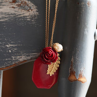 belle of the ball necklace in ruby red