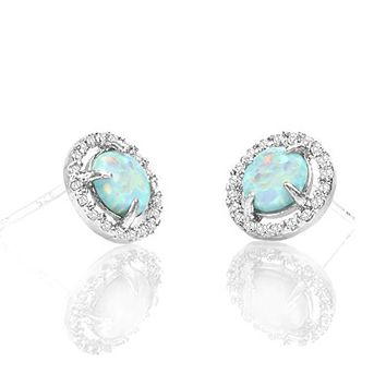 Unique In Style Trendy Earrings 2.50 Ct Opal Created Round Halo Stud Earring 18K White Gold Plated