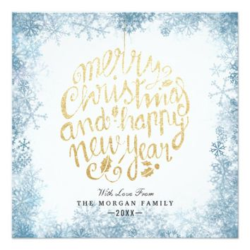 Gold & White Christmas Happy & New Year Typography Card